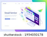 email service isometric landing ... | Shutterstock .eps vector #1954050178