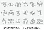 charity icon set. collection of ... | Shutterstock .eps vector #1954053028