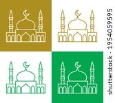 mosque simple vector icons on... | Shutterstock .eps vector #1954059595