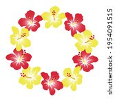 a wreath of hibiscus  a... | Shutterstock .eps vector #1954091515