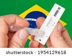 positive rapid test on covid 19 ...   Shutterstock . vector #1954129618