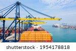 Rear View Cargo Container Ship. ...