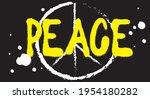 peace sign grunge black white...   Shutterstock .eps vector #1954180282
