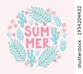 summer greeting card with palm...   Shutterstock .eps vector #1954204432