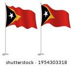 flag east timor on flagpole... | Shutterstock .eps vector #1954303318