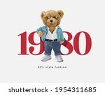 1980 slogan with bear doll in... | Shutterstock .eps vector #1954311685