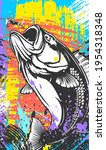 fishing bass logo. bass fish... | Shutterstock .eps vector #1954318348