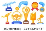set gold trophies  successful...   Shutterstock .eps vector #1954324945