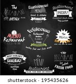vintage restaurant labels on... | Shutterstock .eps vector #195435626