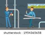 young man plumber wearing blue... | Shutterstock .eps vector #1954365658