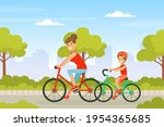 young mother and her son riding ... | Shutterstock .eps vector #1954365685