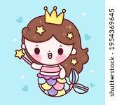mermaid princess cartoon... | Shutterstock .eps vector #1954369645