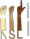 asl american sign language... | Shutterstock .eps vector #1954555375