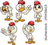 Cartoon Hen With Different...
