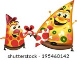 pizza father and son | Shutterstock .eps vector #195460142