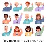 children waving hands. boys and ... | Shutterstock .eps vector #1954707478