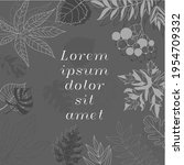 gray banner with leaves in... | Shutterstock .eps vector #1954709332