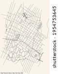 Black simple detailed street roads map on vintage beige background of the quarter East Tremont neighborhood of the Bronx borough of New York City, USA