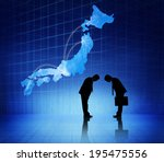 Small photo of Two business people bowing heads to each other and a japan cartograph above them.