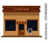 isolated coffee shop building.... | Shutterstock .eps vector #1954806085