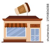 isolated coffee shop building.... | Shutterstock .eps vector #1954806088