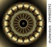 gold 3d flower. luxury round... | Shutterstock .eps vector #1954833592