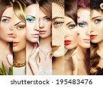 beauty collage. faces of women. ... | Shutterstock . vector #195483476