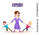 happy mother's day  mom holds...   Shutterstock .eps vector #1954866622