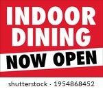 indoor dining sign   now open... | Shutterstock .eps vector #1954868452