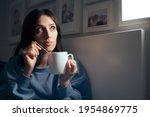 woman drinking tea for insomnia ... | Shutterstock . vector #1954869775