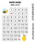 math maze with cute kawaii bee...   Shutterstock .eps vector #1954896892
