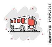 school bus icon in comic style. ... | Shutterstock .eps vector #1954928035