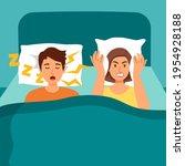 snoring husband annoying wife...   Shutterstock .eps vector #1954928188