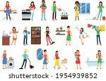 energetic housewife cooking ... | Shutterstock .eps vector #1954939852