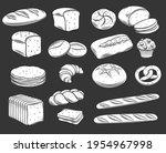 bakery bread glyph white on... | Shutterstock .eps vector #1954967998