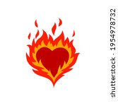 Fired Red Hearts Icon  Flaming...