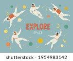 set of people flying in space...   Shutterstock .eps vector #1954983142