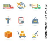 logistic freight service icons... | Shutterstock .eps vector #195498512