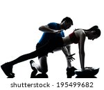 personal trainer man coach and... | Shutterstock . vector #195499682