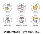 hygiene color line icons set....