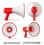 red and white megaphone... | Shutterstock .eps vector #1955010088