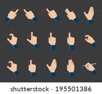 set of flat hand  icons showing ... | Shutterstock .eps vector #195501386