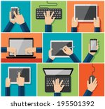 vector set of flat hand icons... | Shutterstock .eps vector #195501392