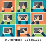 set of flat hand  icons showing ... | Shutterstock .eps vector #195501398
