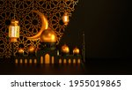 mosque and candle lanterns with ... | Shutterstock . vector #1955019865