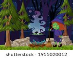forest scene at night with a... | Shutterstock .eps vector #1955020012