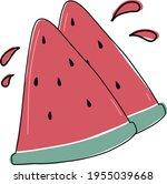 fresh watermelon slice look... | Shutterstock .eps vector #1955039668