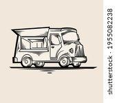 retro food truck bus   drawn... | Shutterstock .eps vector #1955082238