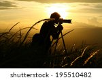 silhouette of a young who like... | Shutterstock . vector #195510482