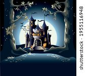 dark castle in a magical forest ... | Shutterstock .eps vector #1955116948